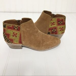 Sam Edelman Suede Aztec Embroidered Booties 8M